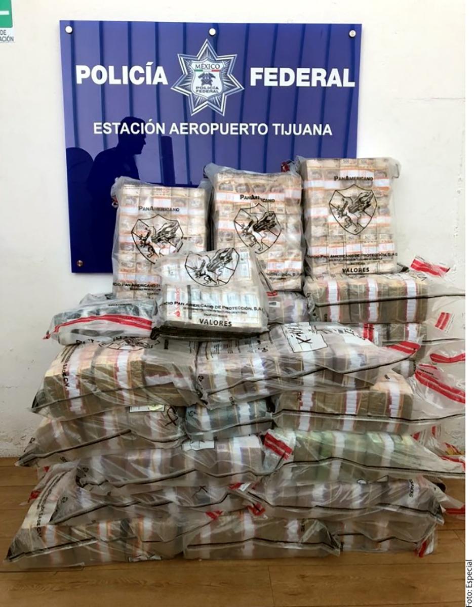 Decomisan 90 millones de pesos en el Aeropuerto Tijuana