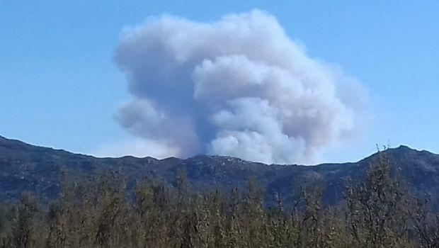 Sigue incendio en la sierra
